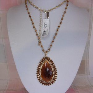 New York & Co Amber Teardrop Pendant Bead Necklace